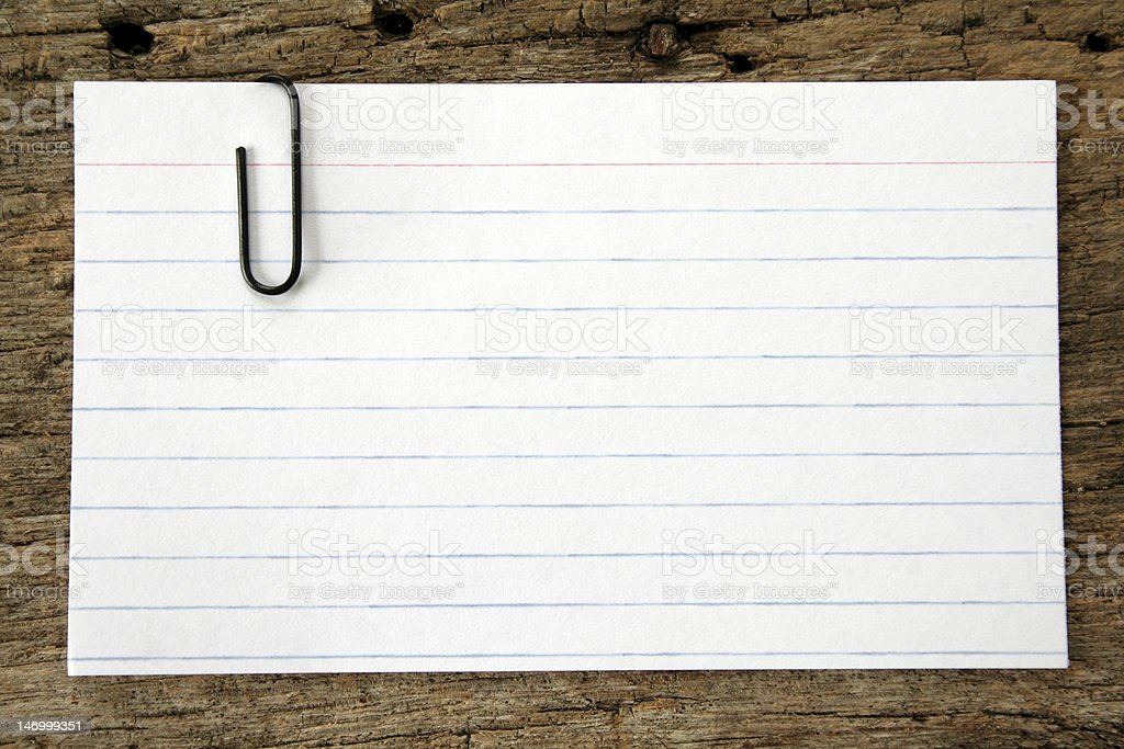 Index Card and Paper Clip royalty-free stock photo