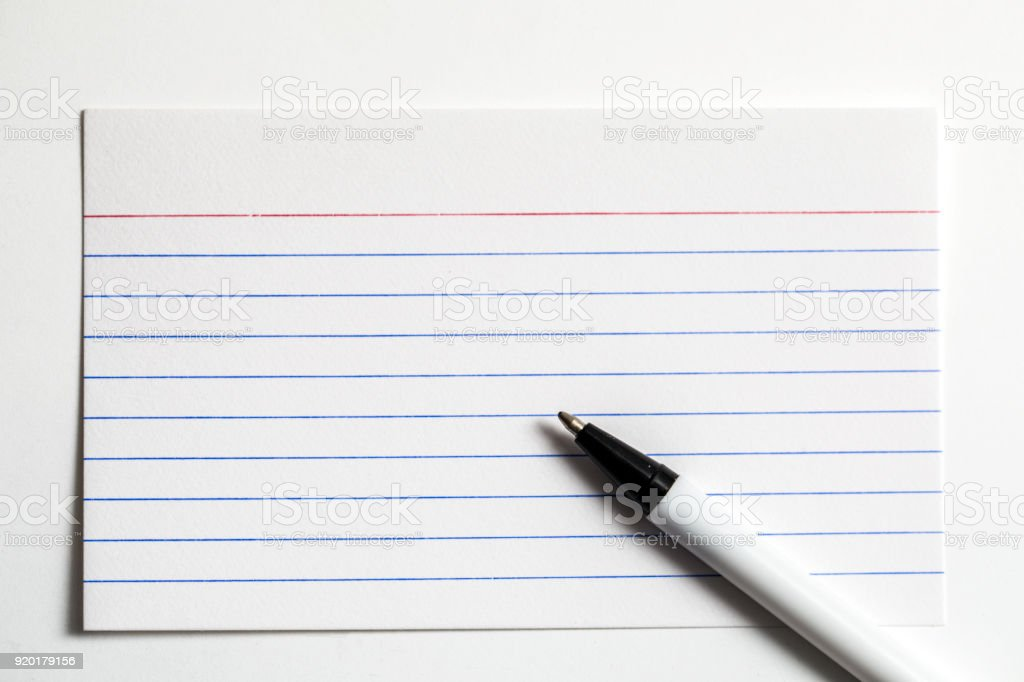 Index Card With A Pen stock photo
