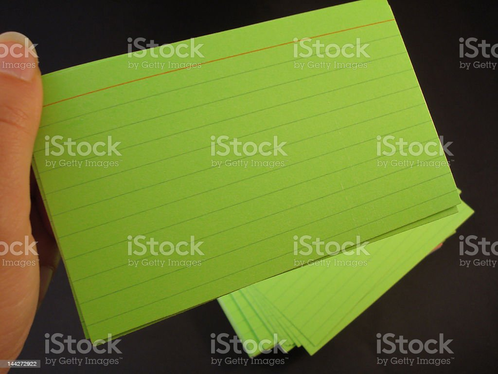 Index Cards in hand 2 stock photo