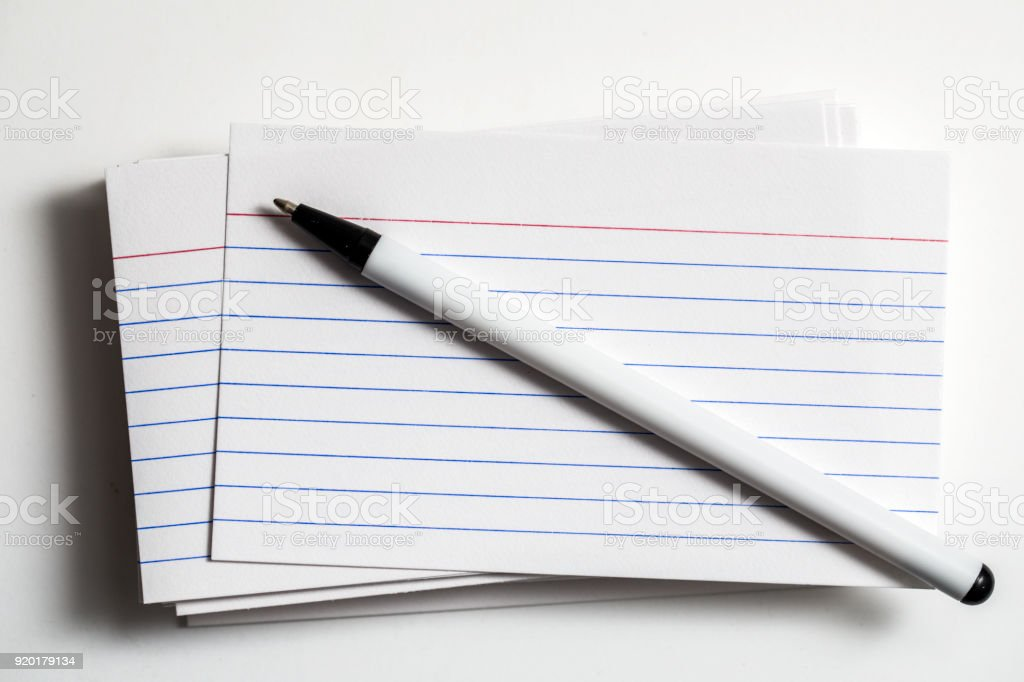Index Cards With A Pen stock photo