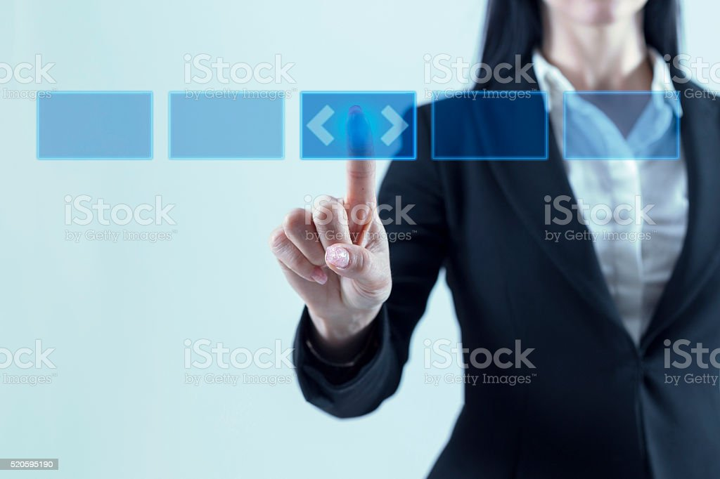 Index finger on touchscreen button stock photo