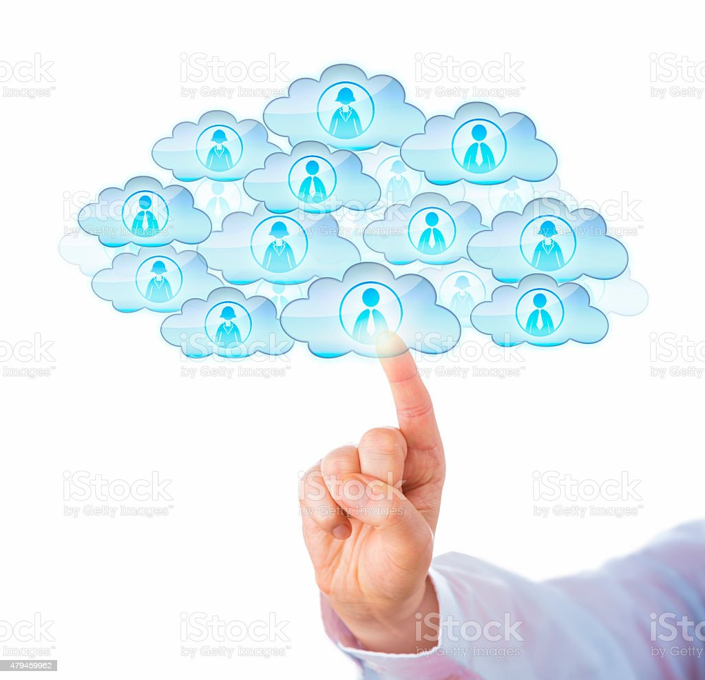 Index Finger Sourcing Workforce In The Cloud stock photo