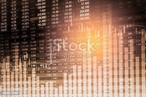 istock Index graph of stock market financial indicator analysis on LED. Abstract stock market data trade concept. Stock market financial data trade graph background. Global financial graph analysis concept. 689874094
