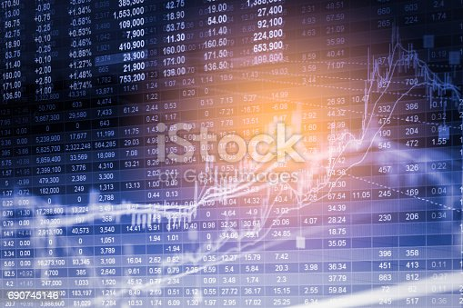 istock Index graph of stock market financial indicator analysis on LED. Abstract stock market data trade concept. Stock market financial data trade graph background. Global financial graph analysis concept. 690745146