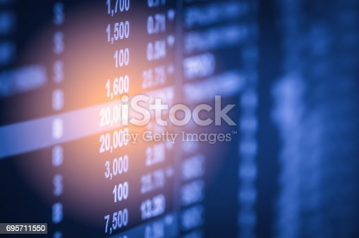 687520174istockphoto Index graph of stock market financial indicator analysis on LED. Abstract stock market data trade concept. Stock market financial data trade graph background. Global financial graph analysis concept. 695711550