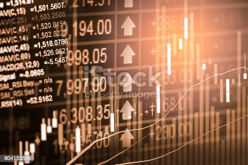 istock Index graph of stock market financial indicator analysis on LED. Abstract stock market data trade concept. Stock market financial data trade graph background. Global financial graph analysis concept. 804153516