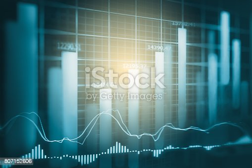 istock Index graph of stock market financial indicator analysis on LED. Abstract stock market data trade concept. Stock market financial data trade graph background. Global financial graph analysis concept. 807152606