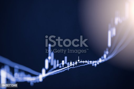 istock Index graph of stock market financial indicator analysis on LED. Abstract stock market data trade concept. Stock market financial data trade graph background. Global financial graph analysis concept. 843071348