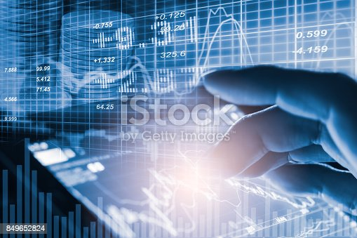 675469650 istock photo Index graph of stock market financial indicator analysis on LED. Abstract stock market data trade concept. Stock market financial data trade graph background. Global financial graph analysis concept. 849652824