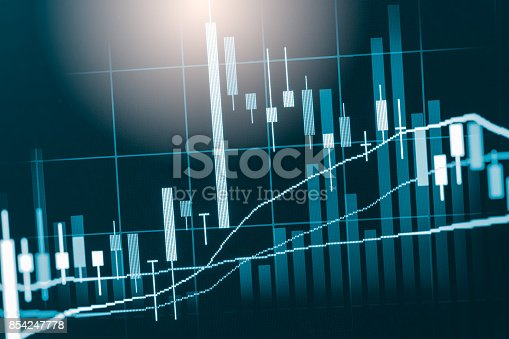 675469650 istock photo Index graph of stock market financial indicator analysis on LED. Abstract stock market data trade concept. Stock market financial data trade graph background. Global financial graph analysis concept. 854247778
