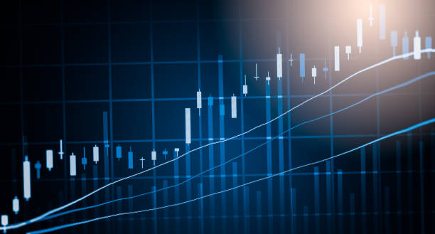 index-diagramm der börse finanzieller indikator analyse auf led. abstrakte börse daten-trade-konzept. aktienmarkt finanzdaten handel diagrammhintergrund. globale finanzielle graph-analyse-konzept. - kurstafel stock-fotos und bilder