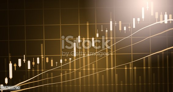 istock Index graph of stock market financial indicator analysis on LED. Abstract stock market data trade concept. Stock market financial data trade graph background. Global financial graph analysis concept. 857655790