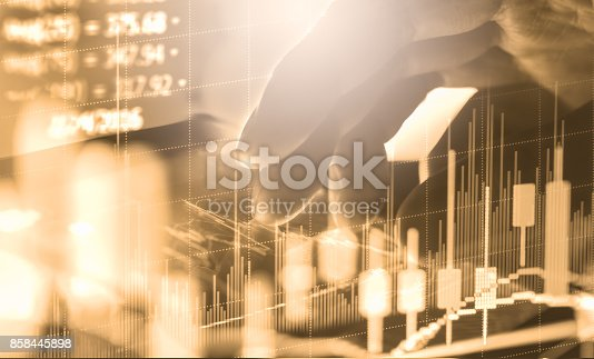 istock Index graph of stock market financial indicator analysis on LED. Abstract stock market data trade concept. Stock market financial data trade graph background. Global financial graph analysis concept. 858445898