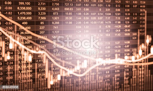 istock Index graph of stock market financial indicator analysis on LED. Abstract stock market data trade concept. Stock market financial data trade graph background. Global financial graph analysis concept. 858445938