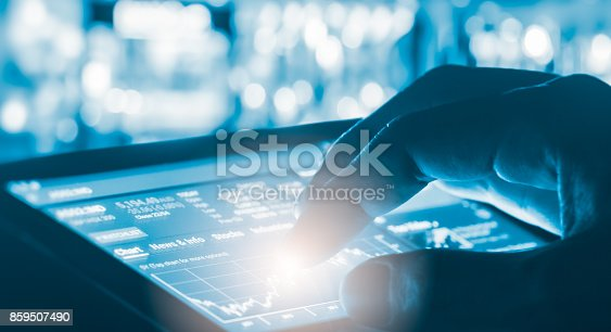 istock Index graph of stock market financial indicator analysis on LED. Abstract stock market data trade concept. Stock market financial data trade graph background. Global financial graph analysis concept. 859507490