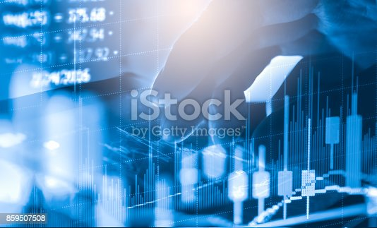 istock Index graph of stock market financial indicator analysis on LED. Abstract stock market data trade concept. Stock market financial data trade graph background. Global financial graph analysis concept. 859507508