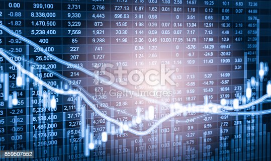 istock Index graph of stock market financial indicator analysis on LED. Abstract stock market data trade concept. Stock market financial data trade graph background. Global financial graph analysis concept. 859507552