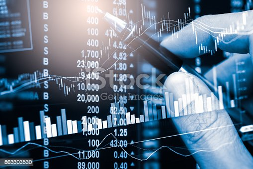 istock Index graph of stock market financial indicator analysis on LED. Abstract stock market data trade concept. Stock market financial data trade graph background. Global financial graph analysis concept. 863303530