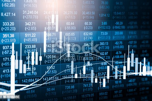 istock Index graph of stock market financial indicator analysis on LED. Abstract stock market data trade concept. Stock market financial data trade graph background. Global financial graph analysis concept. 865556386