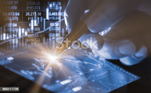istock Index graph of stock market financial indicator analysis on LED. Abstract stock market data trade concept. Stock market financial data trade graph background. Global financial graph analysis concept. 866411708