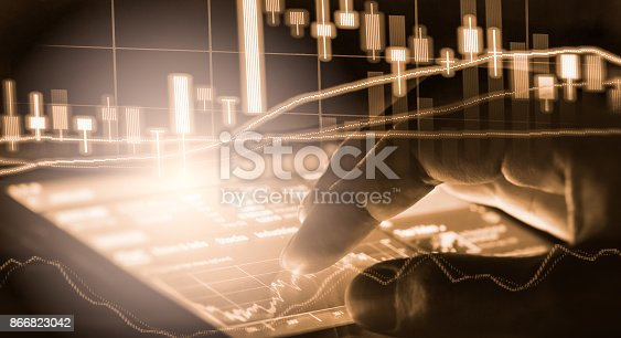 istock Index graph of stock market financial indicator analysis on LED. Abstract stock market data trade concept. Stock market financial data trade graph background. Global financial graph analysis concept. 866823042