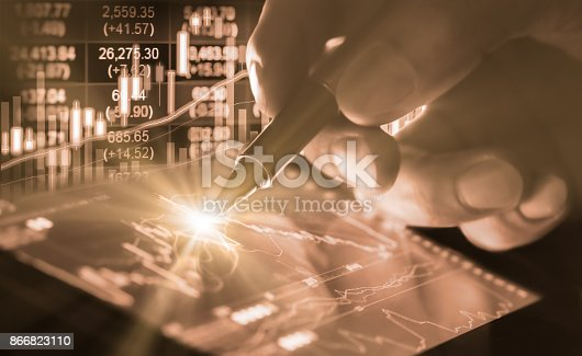 istock Index graph of stock market financial indicator analysis on LED. Abstract stock market data trade concept. Stock market financial data trade graph background. Global financial graph analysis concept. 866823110