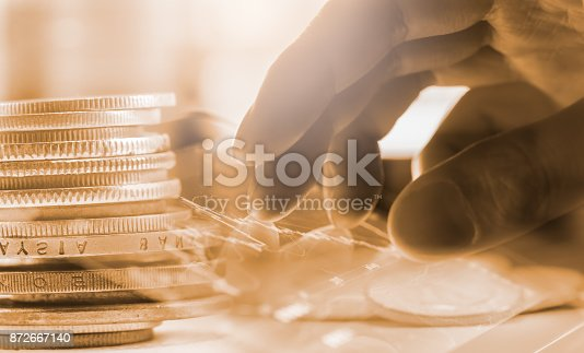 istock Index graph of stock market financial indicator analysis on LED. Abstract stock market data trade concept. Stock market financial data trade graph background. Global financial graph analysis concept. 872667140