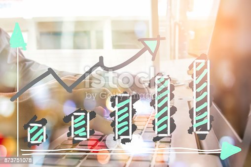 istock Index graph of stock market financial indicator analysis on LED. Abstract stock market data trade concept. Stock market financial data trade graph background. Global financial graph analysis concept. 873751078
