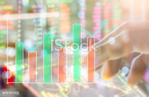 istock Index graph of stock market financial indicator analysis on LED. Abstract stock market data trade concept. Stock market financial data trade graph background. Global financial graph analysis concept. 873751212