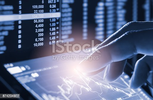 istock Index graph of stock market financial indicator analysis on LED. Abstract stock market data trade concept. Stock market financial data trade graph background. Global financial graph analysis concept. 874204922