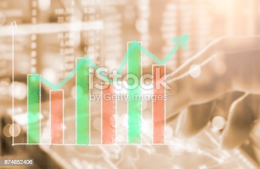 istock Index graph of stock market financial indicator analysis on LED. Abstract stock market data trade concept. Stock market financial data trade graph background. Global financial graph analysis concept. 874652406