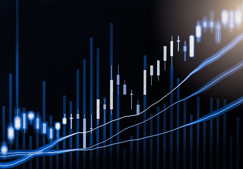 807152606 istock photo Index graph of stock market financial indicator analysis on LED. Abstract stock market data trade concept. Stock market financial data trade graph background. Global financial graph analysis concept. 875077248