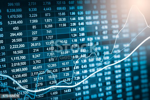 istock Index graph of stock market financial indicator analysis on LED. Abstract stock market data trade concept. Stock market financial data trade graph background. Global financial graph analysis concept. 875468676
