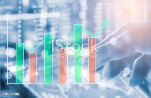 istock Index graph of stock market financial indicator analysis on LED. Abstract stock market data trade concept. Stock market financial data trade graph background. Global financial graph analysis concept. 876790236