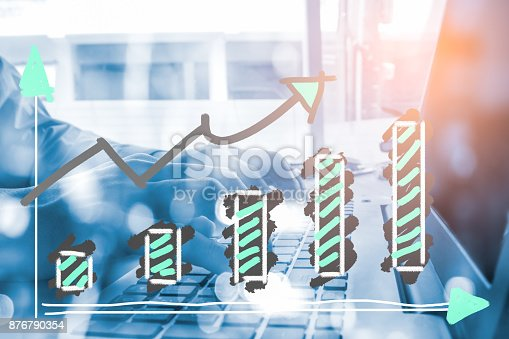 istock Index graph of stock market financial indicator analysis on LED. Abstract stock market data trade concept. Stock market financial data trade graph background. Global financial graph analysis concept. 876790354