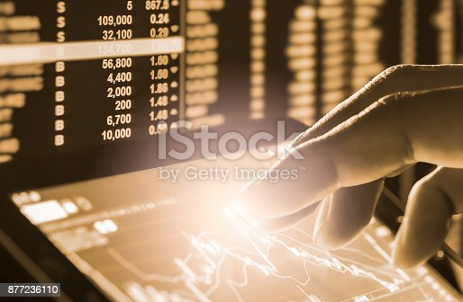 892516664istockphoto Index graph of stock market financial indicator analysis on LED. Abstract stock market data trade concept. Stock market financial data trade graph background. Global financial graph analysis concept. 877236110