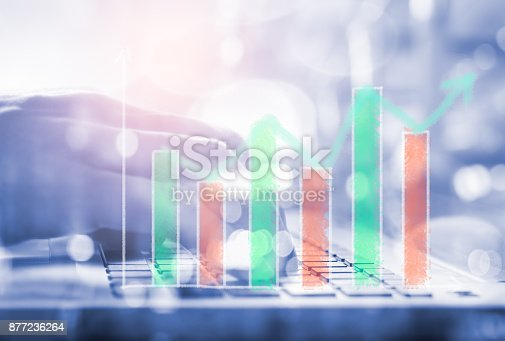 istock Index graph of stock market financial indicator analysis on LED. Abstract stock market data trade concept. Stock market financial data trade graph background. Global financial graph analysis concept. 877236264