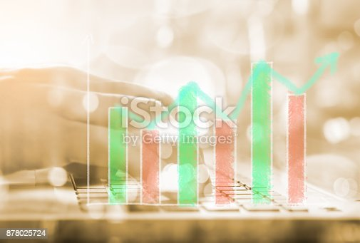 istock Index graph of stock market financial indicator analysis on LED. Abstract stock market data trade concept. Stock market financial data trade graph background. Global financial graph analysis concept. 878025724