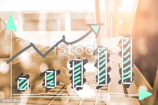 istock Index graph of stock market financial indicator analysis on LED. Abstract stock market data trade concept. Stock market financial data trade graph background. Global financial graph analysis concept. 878027828