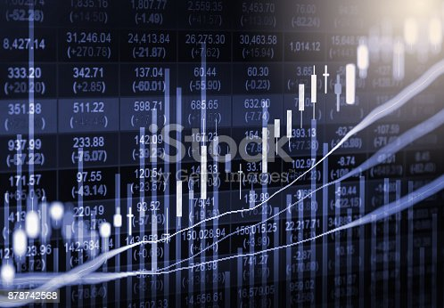 istock Index graph of stock market financial indicator analysis on LED. Abstract stock market data trade concept. Stock market financial data trade graph background. Global financial graph analysis concept. 878742568