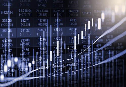 807152606 istock photo Index graph of stock market financial indicator analysis on LED. Abstract stock market data trade concept. Stock market financial data trade graph background. Global financial graph analysis concept. 878742568