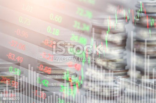 istock Index graph of stock market financial indicator analysis on LED. Abstract stock market data trade concept. Stock market financial data trade graph background. Global financial graph analysis concept. 881965272