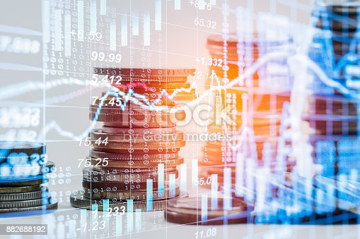 687520174istockphoto Index graph of stock market financial indicator analysis on LED. Abstract stock market data trade concept. Stock market financial data trade graph background. Global financial graph analysis concept. 882688192