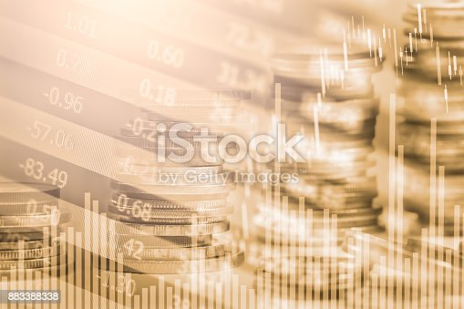 istock Index graph of stock market financial indicator analysis on LED. Abstract stock market data trade concept. Stock market financial data trade graph background. Global financial graph analysis concept. 883388338
