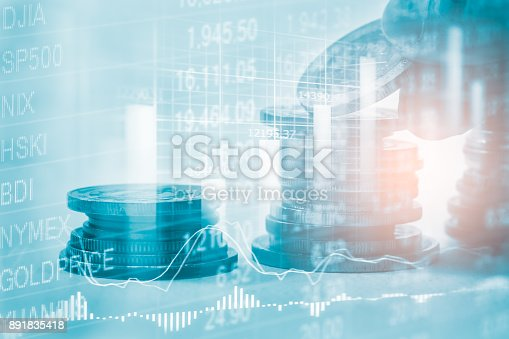 istock Index graph of stock market financial indicator analysis on LED. Abstract stock market data trade concept. Stock market financial data trade graph background. Global financial graph analysis concept. 891835418