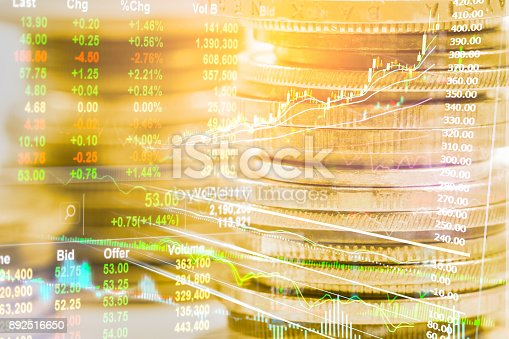 istock Index graph of stock market financial indicator analysis on LED. Abstract stock market data trade concept. Stock market financial data trade graph background. Global financial graph analysis concept. 892516650