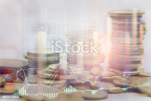 istock Index graph of stock market financial indicator analysis on LED. Abstract stock market data trade concept. Stock market financial data trade graph background. Global financial graph analysis concept. 892516664
