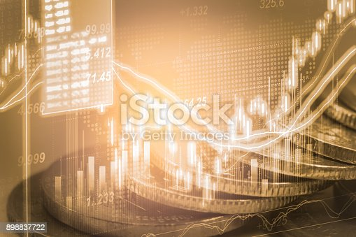 istock Index graph of stock market financial indicator analysis on LED. Abstract stock market data trade concept. Stock market financial data trade graph background. Global financial graph analysis concept. 898837722