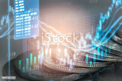 istock Index graph of stock market financial indicator analysis on LED. Abstract stock market data trade concept. Stock market financial data trade graph background. Global financial graph analysis concept. 899263280