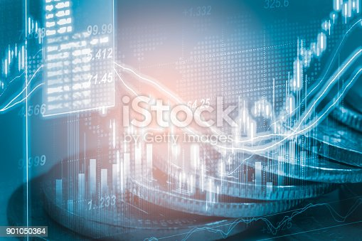istock Index graph of stock market financial indicator analysis on LED. Abstract stock market data trade concept. Stock market financial data trade graph background. Global financial graph analysis concept. 901050364